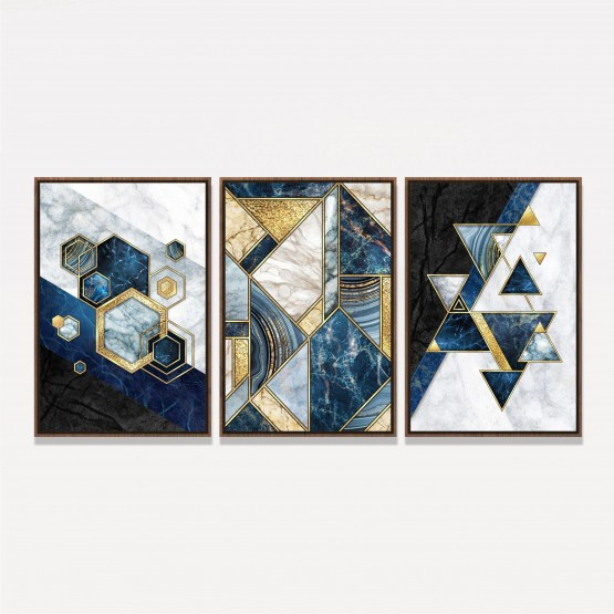 Quadro Abstrato Marmorizado Moderno Azul e Dourado