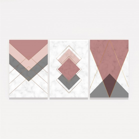 Quadro Abstrato Trio Geométrico decorativo