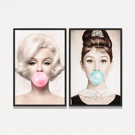 Quadro Marilyn Monroe e Audrey Hepburn Buble Gum