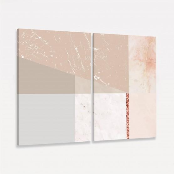 Quadro Abstrato Duo decorativo - Tons de Rosa e Bege