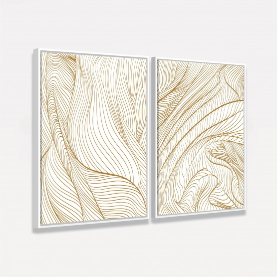 Quadro Abstrato Duo Linhas Curvas Douradas decorativos