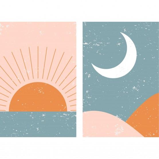Quadro Abstrato em Arte - Duo Sol & Lua