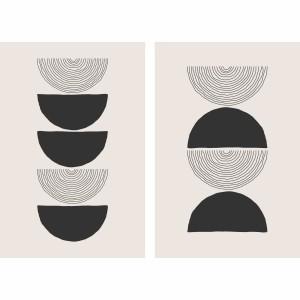 Quadro Moderno Abstrato Tons de Bege e Preto Duo