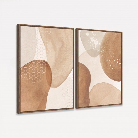 Quadros Abstratos Duo Terracota Moderno - Kit 2 Peças