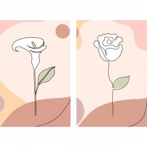 Quadro Flores Delicadas Clean Artístico