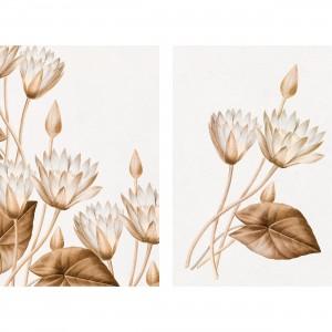 Quadro Flores de Lótus Duo Elegante Artístico decorativo
