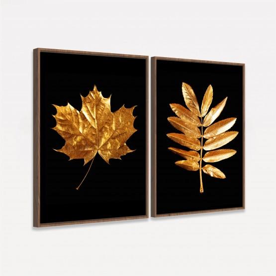 Quadros Folhas Duo Golden Black - 2 Peças