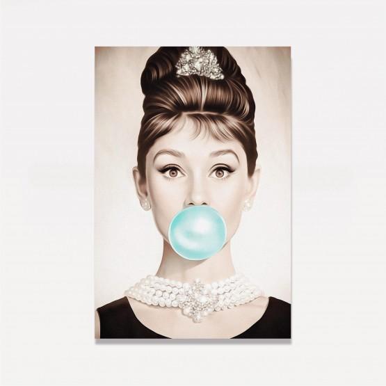Quadro Audrey Hepburn Chiclete Azul