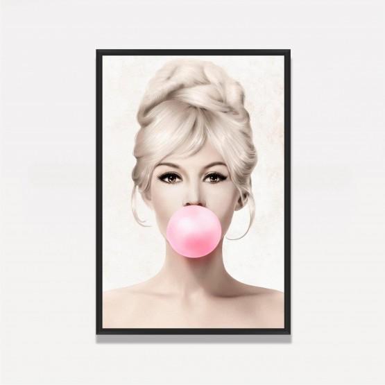Quadro Brigitte Bardot Chiclete Rosa
