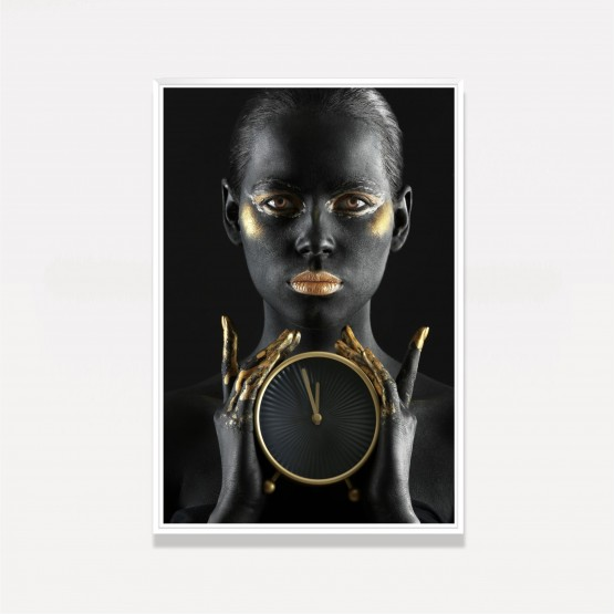 Quadro Mulher Golden Make Fashion - With Clock