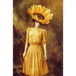 Quadro Mulher em Arte Vintage - With Sunflower