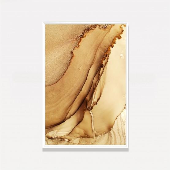Quadro Abstrato Marmorizado Luxo Golden Vertical