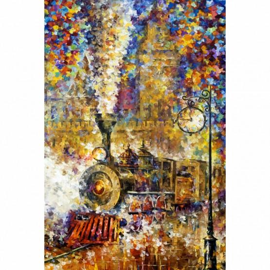 Quadro Artístico Trem Efeito Pinceladas