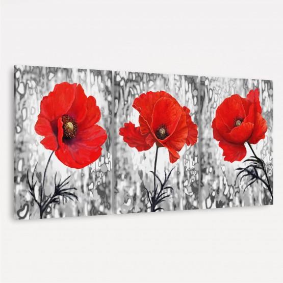 Quadros Flores Vermelhas Trio Artístico decorativo