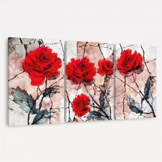 Quadros Flores em Arte Abstrata - Trio de Rosas Vermelhas