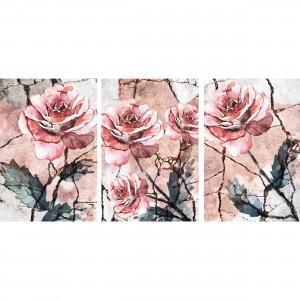 Quadros Flores Trio de Rosas em Arte Abstrata