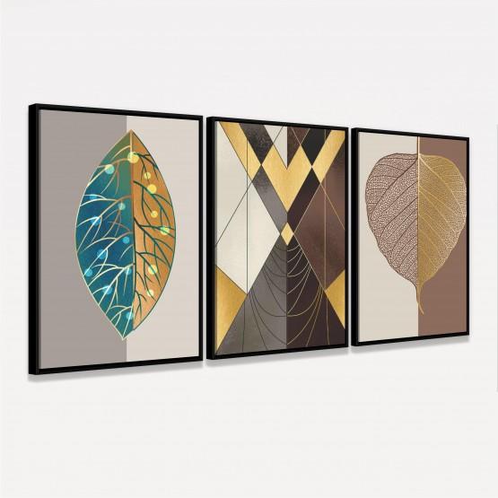 Quadro Abstrato Trio Luxo Tons Marrom e Dourado
