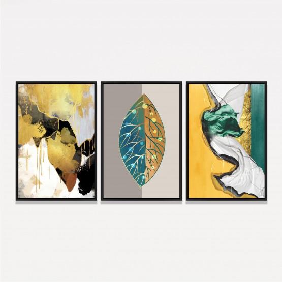 Quadro Trio Abstrato Moderno Colorido