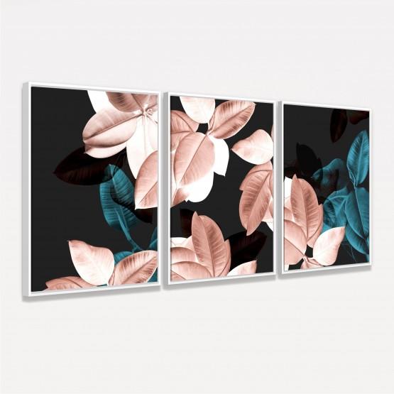 Quadros Flores Modernas - Rosa & Verde Metálico - 3 Peças