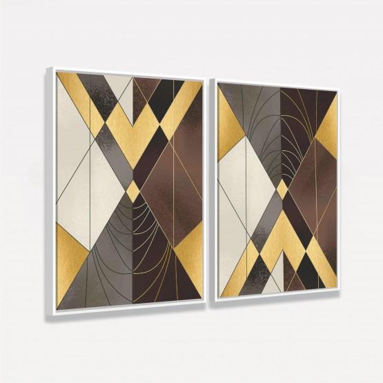 Quadros Abstratos Duo Elegance Tons de Marrom - 2 Peças