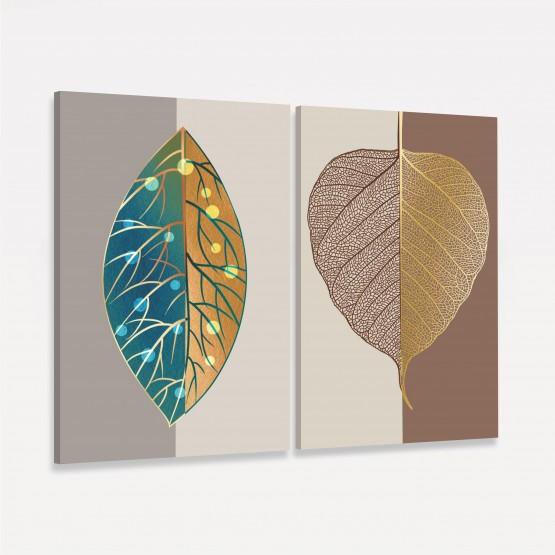 Quadros Folhas em Arte Abstrata Luxo Moderna - 2 Peças