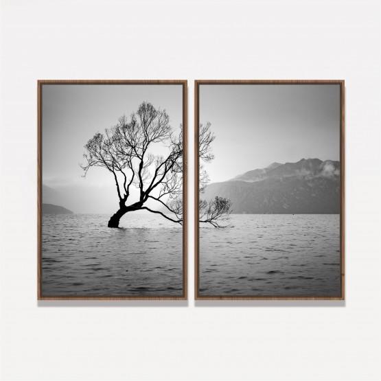 Quadro Árvore Paisagem Sobre as Águas em Preto e Branco - 2 Peças
