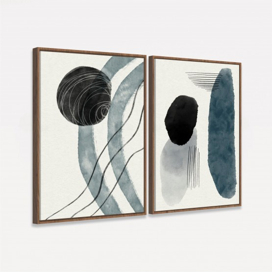 Quadro Abstrato em Arte Duo Grey - 2 Peças