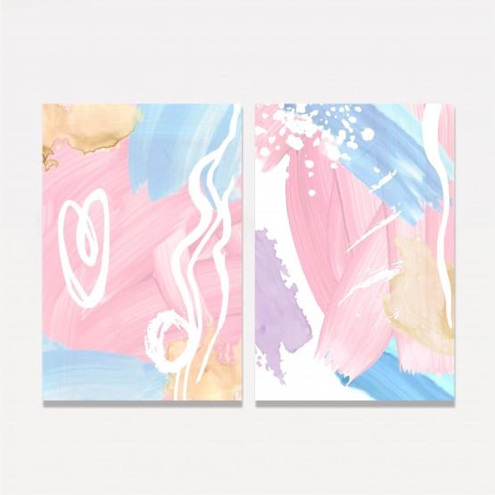 Quadro Abstrato Duo Artístico Duo Colorido - 2 Peças