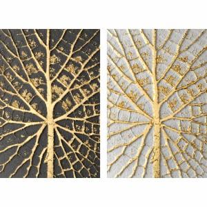 Quadro Folhas Douradas Duo Moderno - Positive Negative