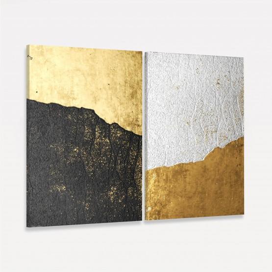 Quadros Abstratos Dourados Duo Rústico decorativo