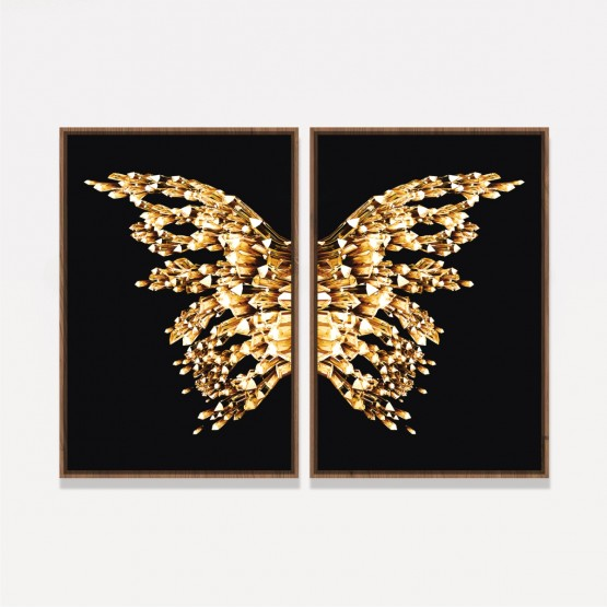Quadro Abstrato Borboleta Asas Douradas Moderno - Golden On Black