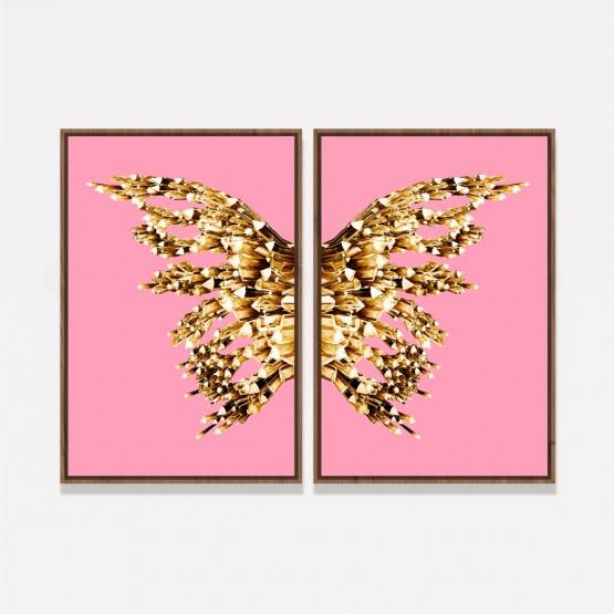 Quadro Abstrato Borboleta Asas Douradas em Rosa - Golden On Pink