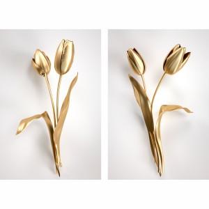 Quadro Flores Duo de Tulipas Douradas