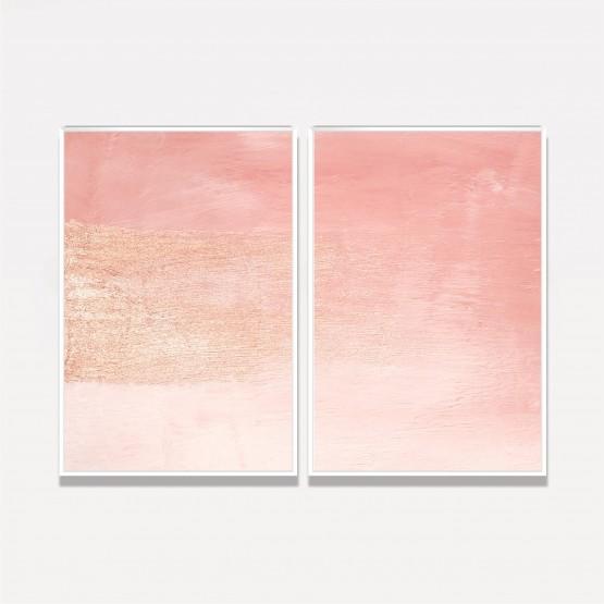 Quadro Abstrato Rosa Duo Minimalista Metálico