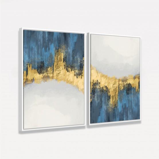 Quadro Abstrato Duo Elegante Artístico Azul e Dourado - 2 Peças