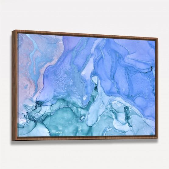 Quadro Marmorizado Tons de Azul Abstrato