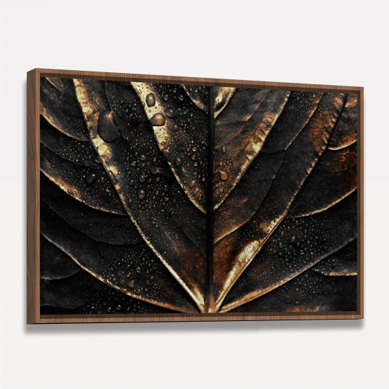 Quadro Luxo Folha Dark Gotejante Detalhes em Dourado