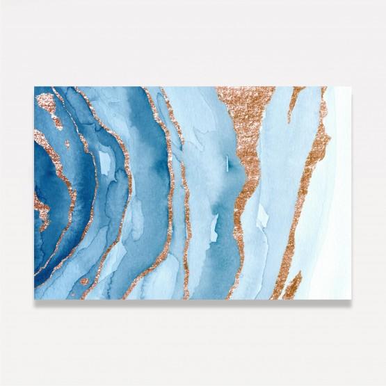 Quadro Abstrato Luxo Tons de Azul detalhes em Dourado