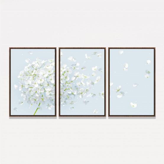 Quadro decorativo Flores Pétalas Brancas Clean