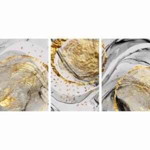 Quadro Abstrato Arte em Mármore - Modern Gold Leaves