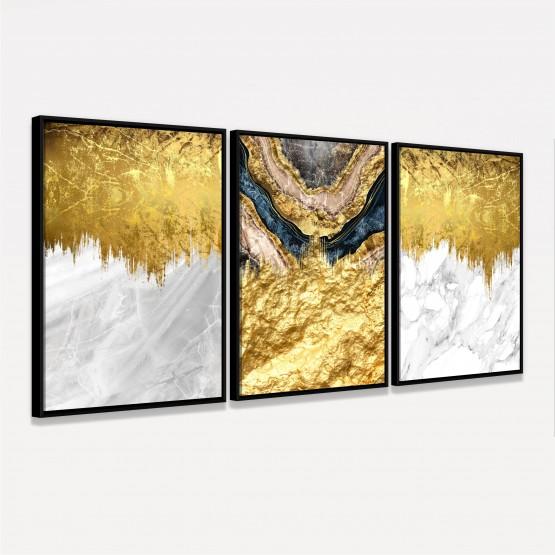 Kit Quadros Abstratos Luxo em Arte Folha de Ouro decorativo
