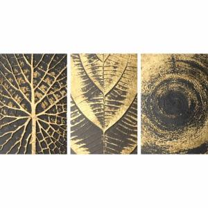 Kit Quadros Abstratos Folhagem Dourada Moderna Luxo 3 Peças