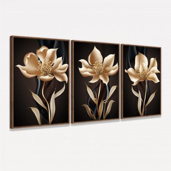 Kit Quadros Flores Modernas Ouro Envelhecido 3 Peças