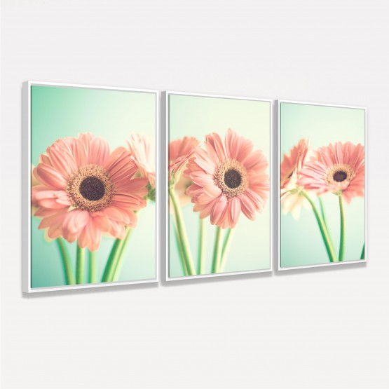 Quadro Flores Margaridas Close decorativo Jogo 3 Peças