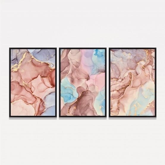 Kit Quadros Abstratos Luxo em Rosa Mármore Moderno 3 Peças