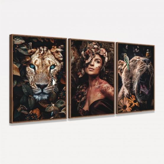 Quadros decorativos Mulher Animais - Trio Nature Art