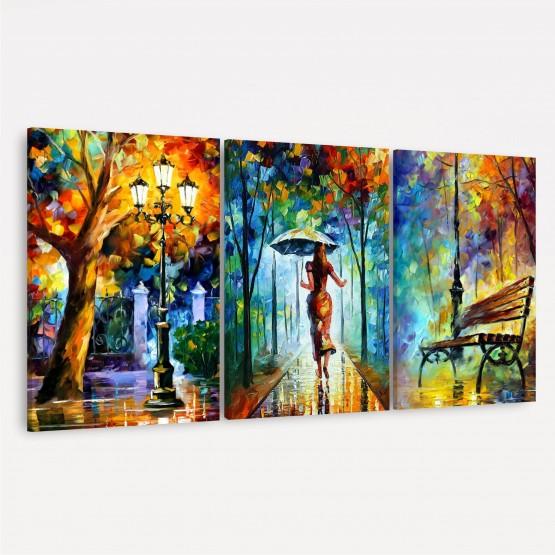 Quadro Abstrato Trio Artístico Moderno - Woman With Umbrella