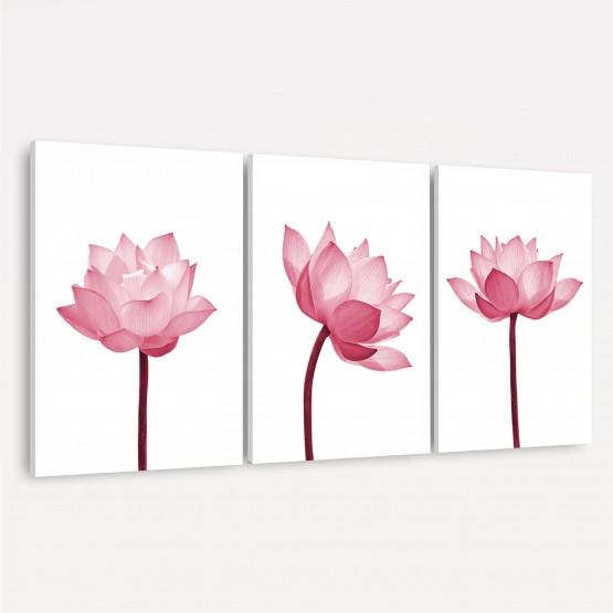 Quadro Flores de Lótus Delicadas - Trio Rose