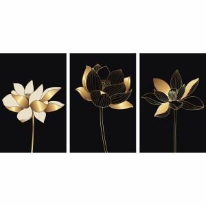 Kit Quadros Flores de Lótus Douradas - Trio em Preto