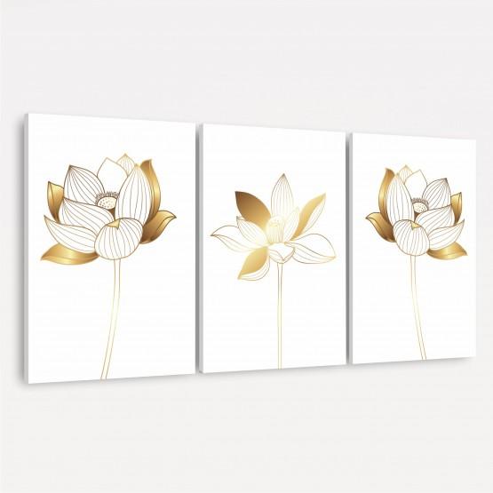 Kit Quadros Flores de Lótus Douradas - Trio em Branco